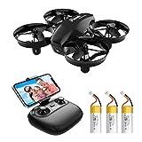 Potensic Mini Drohne A20W mit Kamera 3 Akkus RC Quadrocopter Drohne 2.4Ghz FPV Live Übertragung Ferngesteuerte Drohne Spielzeug Drohne für Einsteiger...
