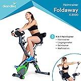 skandika Foldaway X-1000 lite/X-2000 Fitnessbike Heimtrainer X-Bike F-Bike Klappbar mit Handpuls-Sensoren - Ergometer - Hometrainer - Faltbares Fitness-Fahrrad...