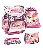 Belmil ergonomischer Schulranzen Set 4 -teilig für Mädchen 1, 2 Klasse Grundschule/Super Leicht 750-800 g/Brustgurt/Pferd/Pink, Bordeaux (405-33 Horse...