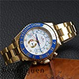 PLKNVT Luxusuhren Herren Automatik Mechanisch Blau Keramik Lünette Edelstahl GMT Uhr Saphir Rose Gold Armbanduhr 44MmGold Weiß