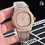 LESHARED Luxusmarke New Automatic Mechanical Herrenuhr Sapphire Full Iced Diamonds Transparent Silber Rose Gold Uhren Limited Sport   5