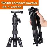 Rollei Compact Traveler No. 1 Carbon - sehr leichtes Reisestativ aus Carbon mit einem Packmaß von nur 33 cm, Arca Swiss kompatibel, Schwarz