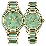 YUXIA Automatikuhren, Echte Jade Uhren, Automatik Paar Uhren, Smaragd Uhren, Männer Mechanische Uhren,f