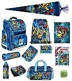 Familando Transformers Clou Schulranzen-Set 17-TLG. mit Federmappe, Turnbeutel, Brotzeit-Dose, Trink-Flasche, Sporttasche, Schultüte 85 cm und Regenschutz Blau