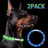 Nakeey LED Leuchthalsband Hunde, 2 Stücke USB wiederaufladbar hundehalsband Leuchtend, Längenverstellbar Nacht-Sicherheit Hunde Halsband für Hunde und Katzen...