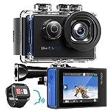 AKASO Action Cam 4K/30fps Action Kamera 20MP WiFi Touchscreen Unterwasserkamera 40m Brave 6 Plus mit EIS 8X Zoom Sprachsteuerung Fernbedienung Helmet Zubehör...