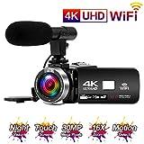 Videokamera 4K 24FPS Camcorder Full HD 30MP WiFi-Konnektivität Videokamera mit Mikrofon 3,0-Zoll-Touchscreen IR-Nachtsicht Video Camcorder Zeitraffer