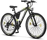 Licorne Bike Effect Premium Mountainbike in 29 Zoll Aluminium, Fahrrad für Jungen, Mädchen, Herren und Damen - 21 Gang-Schaltung - Herrenrad - Schwarz/Lime...