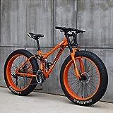 Mountainbike, 26 Zoll (66 cm), MJH-01, Erwachsene, Fat-Tyre-Mountain-Trail-Bike, 24-Gang-Fahrrad, Rahmen aus Karbonstahl, doppelte Vollfederung, doppelte...