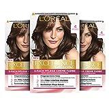 L'Oréal Paris Excellence Creme Permanente Haarfarbe, 100% Grauhaarabdeckung, Haarfärbeset mit Coloration, Shampoo und 3-fach Pflegecreme, 4 Mittelbraun, 3 x...