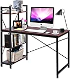 YANGSANJIN Computer Table,Brown Walnut Computer Desk with 4 Tier Shelves Bookcase PC Gaming Table for Home Office (Brown)