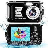 Unterwasserkamera 10FT 1080P Full HD 30MP Wasserdichte Kamera, Anti Shake 16X Digital Zoom Unterwasserkamera zum Schnorcheln Schwarz