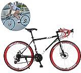 Jjwwhh 28 Zoll Rennrad Road Bike, Straßenrennrad mit Carbon Gabel für Damen und Herren,Vollfederung Mountain Bike,24 Speed,White 40 Spoke/Red