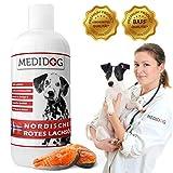 Medidog 1 Liter Rotes Omega 3 Lachsöl, Naturtrüb, Super-Premium Lebensmittelqualität, Kaltgepresst, Lachsöl für Hunde und Katzen, Barf Öl mit...