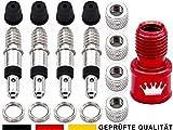 17-Teile Fahrradventil-Ersatz komplett-Set: 4x Fahrrad-Ventil Dunlop Blitz-Ventil Einsatz + AV-Adapter als Auto-Ventil Luft-Pumpe Aufsatz + Ventilkappen Mutter,...