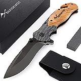 BERGKVIST 3-in-1 Taschenmesser K19 Messer extra scharf I Klappmesser mit Holzgriff I Outdoor Messer mit Titaniumklinge aus Edelstahl I Einhandmesser mit...