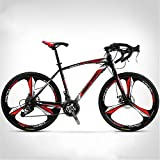 Xinxie1 Rennräder 26' Rad Rennrad voller Stahl Rennrad Rennrad mit 27-Gang-Gang-Kettensystem und 700C Räder Straßen-Fahrrad-Doppelscheibenbremse Fahrrad,E