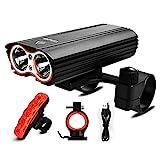 LED Fahrradlicht Set, Fahrradlampe 2400 Lumen IP65 Wasserdich Fahrradbeleuchtung, USB Aufladbare Fahrradlichter Superhelle Frontlicht 360° Rotation, 4400mAh 3...