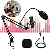 USB Kondensator Mikrofon Kit, USB Streaming Podcast PC Mikrofon Professionelle 192kHz / 24Bit Studio Cardioid Kondensator Mic Kit Mikrofonständer, Popfilter...