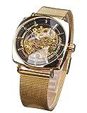 Forsining Luxuriöse mechanische analoge Automatikuhr transparent wasserdicht Herrenuhren mit goldenem Blumen-Uhrwerk Business-Geschenk