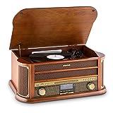 auna Belle Epoque 1908 - Retroanlage, Plattenspieler, Stereoanlage, Digitalradio, DAB+, Plattenspieler, Radio-Tuner, Bluetooth, CD-Player, MP3-fähig, RDS,...