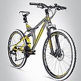 Bergsteiger Phoenix 26 Zoll Mountainbike, geeignet ab 160 cm, Scheibenbremse, Shimano 21 Gang-Schaltung, Vollfederung, Jungen-Fahrrad & Herren-Fahrrad