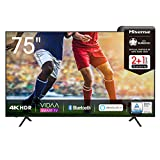 Hisense 75AE7000F 190 cm (75 Zoll) Fernseher (4K Ultra HD, HDR, Triple Tuner DVB-C/ S/ S2/ T/ T2, Smart-TV, Frameless, Bluetooth, Alexa, verstellbare...