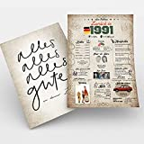 Zeitreise | Geschenk 30. Geburtstag | Geschenkidee Geburtstagsgeschenk | 30 Geburtstag Männer, 30 Geburtstag Frau | Geburtstagskarte 30 Jahre | 1991 Geboren