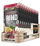 Belcando Frischebeutel [12x125g Rind mit Spätzle & Zucchini] | Nassfutter für Hunde | Feuchtfutter Alleinfutter im Einzelportionsbeutel