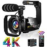 Videokamera 4K Camcorder Ultra HD 30MP 18X Camcorder mit LED-Fülllicht, 3,0 Zoll Drehbare Touchscreen Vlogging Kamera für YouTube mit Mikrofon,...
