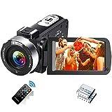Videokamera Full HD 2.7K 30FPS Camcorder Tragbare Vlogging-Kamera 42 MP Unterstützt Zeitraffer und Zeitlupen Digitalkamera mit 3-Zoll-LCD-Bildschirm...