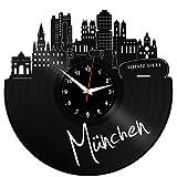 EVEVO München Wanduhr Vinyl Schallplatte Retro-Uhr groß Uhren Style Raum Home Dekorationen Tolles Geschenk Wanduhr München