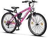 Licorne Bike Guide (Rosa/Weiß 26), 26 Zoll, 24 Zoll, 20 Zoll Mountainbike,Shimano 21 Gang (18 Gang bei...