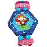 Bino & Mertens 9086041 Holzuhr Fee, Spielzeuguhr für Kinder ab 3 Jahre, Kinderspielzeug (Erste Uhr ab 3 Jahre, multifunktionale Lehruhr für Vorschüler,...