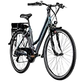 Zündapp E-Bike Trekking 700c Green 7.7 Pedelec Trekkingrad Damen 28 Zoll Touren (grau/blau, 48 cm)