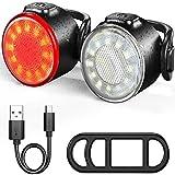 WERTAZ USB Aufladbar LED Fahrrad Warnleuchte Set, Kolben Fahrrad Front Und Rücklicht, S-UPER Hell Wasserfest Vorne und Hinten Licht, Cycle Licht Für Außen...