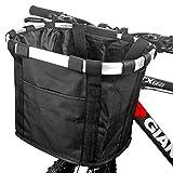 GXZOCK Fahrradkorb Vorne, Faltbar Wasserdicht Fahrrad Lenkerkorb, Easy Install Abnehmbare Lenkerkorb Tasche für Kleiner Hund, Picknick, Einkaufen - Schwarz