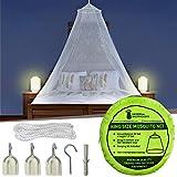 Moskitonetz Inklusive Klebehaken für Reise & Dekoration - 2 Öffnungen oder Vollständig Geschlossener Mückennetz für Doppelbett & Einzelbett - Hochwertige...
