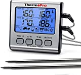 ThermoPro TP17 Digitales Grill-Thermometer Bratenthermometer Fleischthermometer Ofenthermometer mit Timer, Zwei Edelstahlsonden, Blaue Hinterbeleuchtung,...