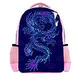 Retro Blue Chinesische Drache Wolken Schule Buch Tasche für Mädchen Jungen Reise Rucksack Casual Daypack Laptop Taschen für Männer Frauen