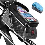 Qomolo Fahrrad Rahmentasche Wasserdicht Farhrradlenkertasche Fahrrad Handytasche mit Hochempfindlicher Touchscreen, Innerhalb mit Kopfhörerloch, für...