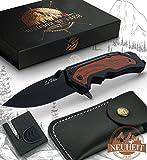 Le Flair Outdoor Messer - Einhandmesser Taschenmesser mit 8,5cm Edelstahl Titanklinge - Survivalmesser mit Korrosionsschutz - Bushcraft Messer inkl....