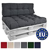 Beautissu Palettenkissen ECO Style Sitzkissen 120x80x15 cm Outdoor Palettenauflage Palettenpolster mit Oeko-Tex in Graphit-Grau