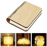 tronisky LED Buchlampe, Faltbare LED Stimmungslicht in Buch Form, Hölzerne Buch Lampe USB Wiederaufladen Nachtlicht Dekorative Atmosphäre Tischlampe, 880mAh,...