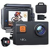 Action Cam A87,UHD 4K 60fps Touchscreen WiFi Unterwasserkamera 20MP Digitale wasserdichte 40M Helmkamera (2.4G Fernbedienung,kostenlose Transporttasche,...