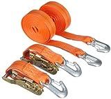 Braun Spanngurt 2000 daN, zweiteilig, für Profis und Privattransport, nach DIN EN 12195-2, Farbe orange, 6 m Länge, 35 mm Bandbreite, mit Ratsche und...