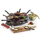 oneConcept Woklette - Raclette Grill, Tischgrill, Partygrill, Leistung: 1200 Watt, stufenlos regulierbare Temperatur, inkl. 8 Pfännchen und Holzspatel,...