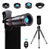 Crenova Handy Objektiv Kamera Linse Kit 22x Zoom Teleobjektiv, 235° Fischaugenobjektiv, 25 Makro-Objektiv und 0,62 Weitwinkelobjektiv für Iphone und die...
