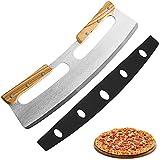 Pizza Wiegemesser, Pizzaschneider aus Edelstahl 35cm mit Holzgriff, Schnelles und Gleichmäßiges Profi Pizzamesser (Silber)