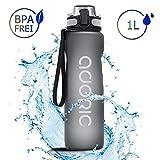Adoric Sport Trinkflasche, [BPA Frei Tritan] 1L Auslaufsicher Kunststoff Wasserflasche Sport, Sportflasche Fahrrad für Camping Freien, Outdoor, Yoga, Gym